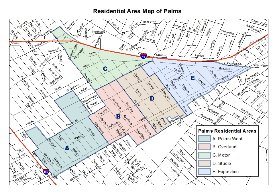 Map of Palms Palms Neighborhood Council